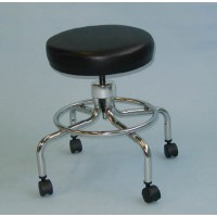 Classic Doctors Stool (Gray) w/o Back w/Foot Ring & Casters