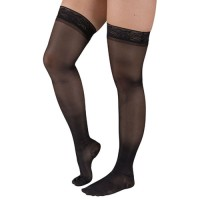 Ladies' Shr Moderate Supprt Lg 15-20mmHg Thgh w/StayTop Black